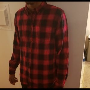 Plain Red and Black Flannel